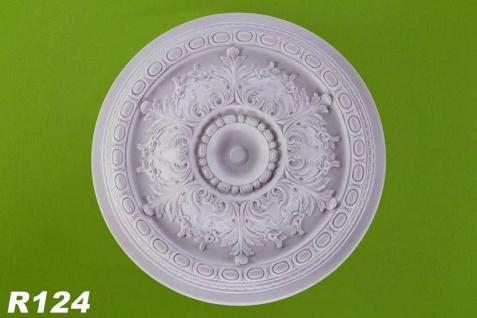 R124 Grosse Deckenrosette aus Polyurethan Hartschaum mit glatter weißer Oberfläche 72cm