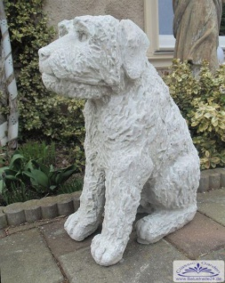 Hunde Steinfigur Irish Soft Coated Wheaten Terrier Gartendeko Steinfigur 60cm 40kg