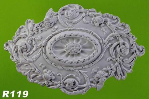 R119 Ovale Rokoko Zierstuck Deckenrosette aus Polyurethan Hartschaum mit glatter weißer Oberfläche 47x74cm