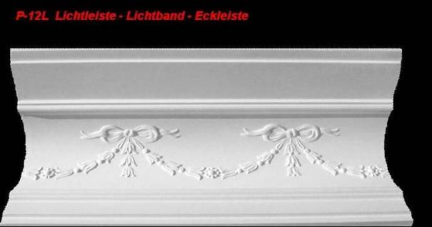 Lichtleiste Eckprofil P-12L Gipsstuck Profil 120x150mm Stuckleiste Gips Stuck Lichtband Eckleiste 1Meter