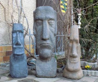 Moai Skulpturen 3-er Set Osterinsel Figuren als Gartenfigur Rapa Nui Steinfiguren 222kg Beton Steinguss