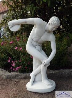 S293 Gartenfigur Diskuswerfer Diskobolos Skulptur Steinfigur Sportler als Beton Steinguss Figur 93cm 72kg