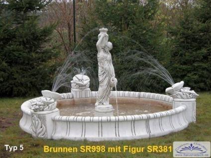 SR998 Großes Brunnenbecken 280cm Durchmesser mit 3 Blumenelementen Garten Springbrunnen wahlweise mit Figur - Vorschau 4