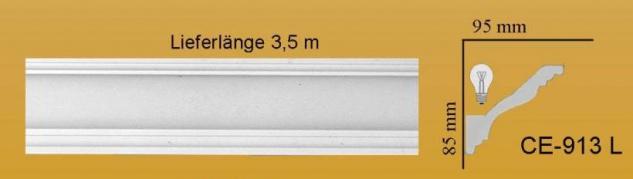 Eckprofil CE-913L Gipsstuck 85x95mm Stuckleiste für indirekte Deckenbeleuchtung Stuck Lichtleiste Lichtband Eckleiste 350cm