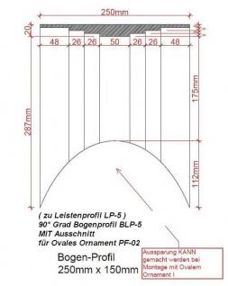 NLP-15 Bogenprofil mit Ausschnitt für PF-02 ovale Platte zu Leistenprofil LP-5 Stufenprofil 250x20mm 1Stück