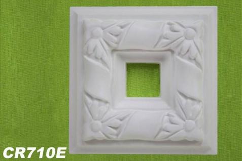 HX-CR710E Schmuck Eck Platte zur Flachleiste CR710 für Wand- und Deckenspiegel als Innenstuck Zierelement aus PU Hartschaum 330x330mm 1 Stück