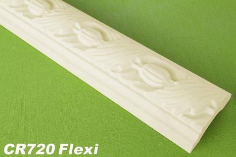 HX-CR720-FLEXI Flache flexible Dekorleiste für Wand- und Deckenspiegel als Innenstuck Profil aus PU Hartschaum 50x25mm 1Meter