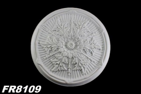FR8109 Florale Deckenrosette aus Polyurethan Hartschaum mit weißer Oberfläche 53cm