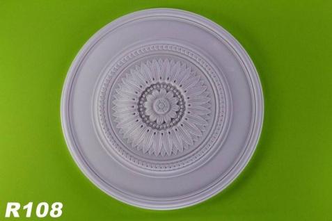 R108 Deckenrosette mit floralem Elementen als Stuckelement aus Polyurethan Hartschaum mit weißer Oberfläche 76cm