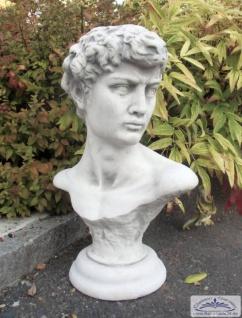S102001 Große Davidbüste der bekannten Gartenskulptur Büsten als Gartendeko Beton Skulptur aus Steinguss 67cm 46kg