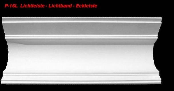Lichtleiste Eckprofil P-16L Gipsstuck Profil 120x145mm Stuckleiste Gips Stuck Lichtband Eckleiste 1Meter