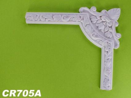HX-CR705A Schmuck Eck Segment zur Flachleiste CR705 für Wand- und Deckenspiegel als Innenstuck Zierelement aus PU Hartschaum 375x320mm 1 Stück