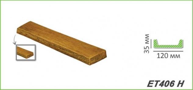 HX-ET406H Brett als Decken- und Wandbrett mit Holzimitat aus leichtem Polyurethan Hartschaum als rustikale Innendekoration 120x35mm Preis je Stück - Vorschau 2