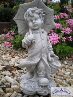 SA-N476 Kleine Kinder Gartenfigur Junge Leo mit Schirm 40cm 7kg - Vorschau 5