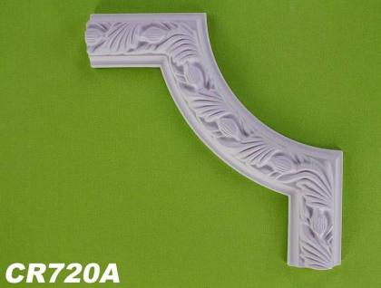 HX-CR720A Schmuck Eck Segmentbogen zur Flachleiste CR720 für Wand- und Deckenspiegel als Innenstuck Zierelement aus PU Hartschaum 320x313mm 1 Stück