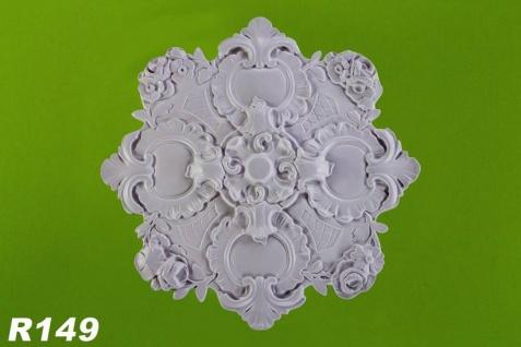R149 Rokoko Deckenrosette Zierstuck aus Polyurethan Hartschaum mit weißer Oberfläche 46cm