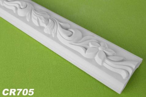 CR705 Flache Leiste mit Dekor Musterung für Wand und Decke als Innenstuck 50x25mm Profil 200cm