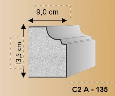 C2A Fassadenstuck Sockelprofil 135x90mm Styroporstuck Fassadenleiste Profi 300cm
