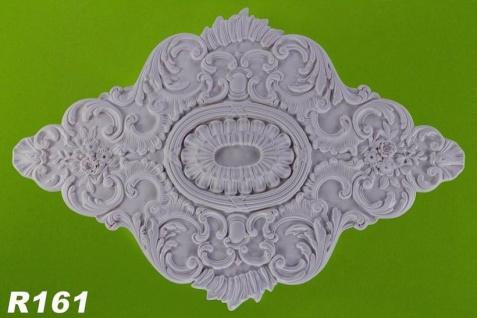 R161 Ovale Rokoko Zierstuck Deckenrosette aus Polyurethan Hartschaum mit weißer Oberfläche 73x108cm