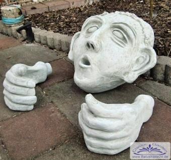 Badender Mann im Fass mit 2 Hände und Kopf 36cm lustige Gartendekoration für Wasserfass