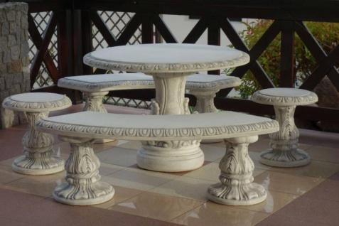 SR255 komplette Betonmöbel Sitzgarnitur mit rundem Gartentisch und je 2 Hocker und Gartenbänken 557kg