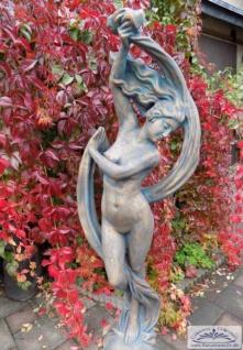 ROP-267 Gartenfigur Tänzerin Frau mit Schleier Tuch auf der Kugel erotische Schleiertanz Skulptur kupferoxyd 168cm 97kg