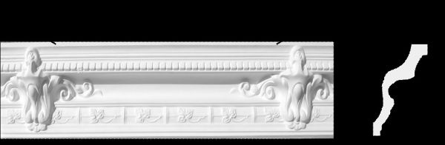 Eckprofil C-23 Gipsstuck Profil 150x175mm Stuckleiste Gips Stuckprofil mit floralem Design 360cm