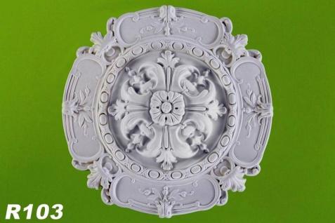 R103 Decken Stuckrosette aus Polyurethan Hartschaum mit weißer Oberfläche 42cm