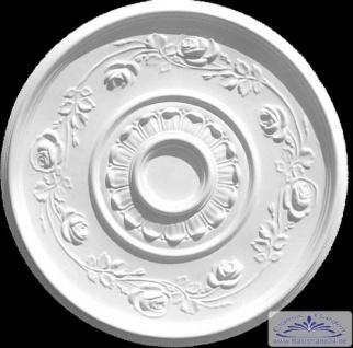 R-36 Deckenelement aus Gips Stuck als runde Deckenrosette mit Rosen Blüten 62cm