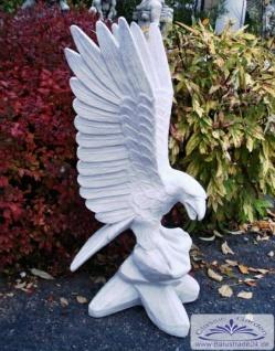 BD-Z67 Adler Gartenfigur Steinfigur Steinadler auf Felsen Adlerfigur weiss 90cm 46kg