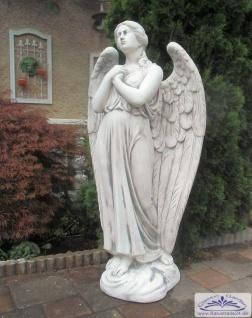 SRS101198 Engel Steinfigur mit beeinduckenden Engelflügel als betende Grabfigur für Friedhof oder Gartenfigur 140cm 220kg