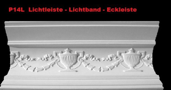 Lichtleiste Eckprofil P-14L Gipsstuck Profil 120x150mm Stuckleiste Gips Stuck Lichtband Eckleiste 1Meter