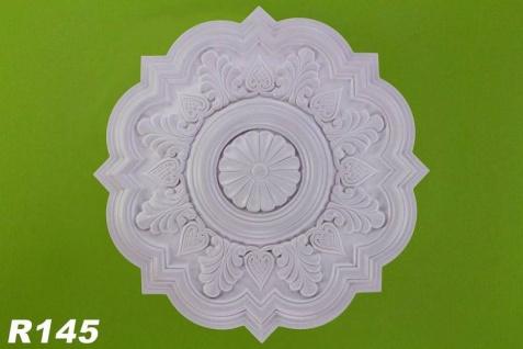 R145 Deckenrosette Zierstuck Element aus Polyurethan Hartschaum mit weißer Oberfläche 52cm