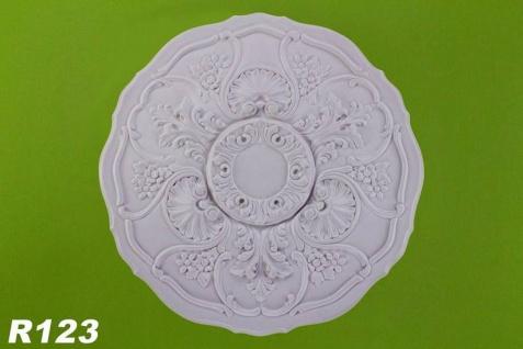 R123 Innendekor Deckenrosette aus Polyurethan Hartschaum mit glatter weißer Oberfläche 57cm