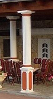 BD-A007 Säule kanneliert 30cm Betonsäule mit Sockel Basis und dorischem Säulenabschluss Kapitell 260cm