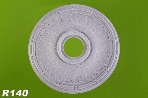 R140 Deckenrosette Zierstuck Lochrosetten Element aus Polyurethan Hartschaum mit weißer Oberfläche 45cm