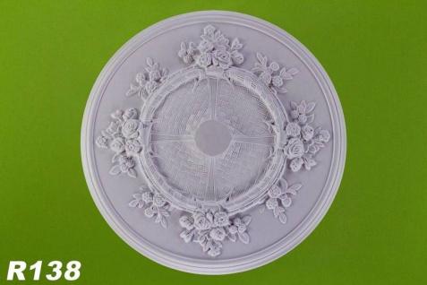 R138 Rosen Stuck Deckenrosette aus Polyurethan Hartschaum mit weißer Oberfläche 68cm