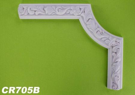 HX-CR705B Schmuck Eck Segment zur Flachleiste CR705 für Wand- und Deckenspiegel als Innenstuck Zierelement aus PU Hartschaum 350x290mm 1 Stück