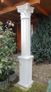 BD-A006 Säule kanneliert 30cm Betonsäule mit Sockel Basis und korinthischem Kapitell Garten Dekoration Eingang 260cm