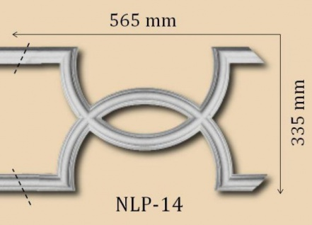 NLP-14 Zierstuckelement Schmuck Bogen Element 565x355mm zu Gips Stuckleiste LP-14 1Stück