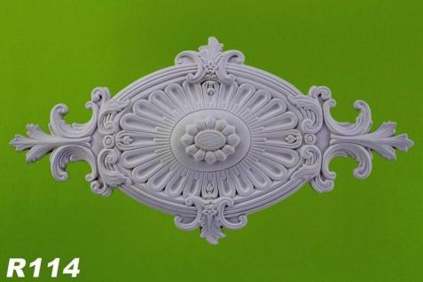 R114 Ovale Zierstuck Decken Stuckrosette aus Polyurethan Hartschaum mit weißer Oberfläche 31x60cm