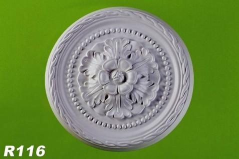 R116 Wand- und Deckenrosette als Zierstuck Rosette aus Polyurethan Hartschaum mit weißer Oberfläche 30cm
