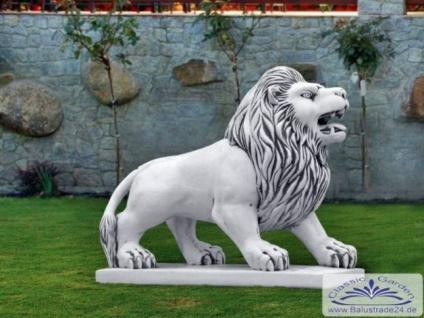 S203009 Gartenfigur Löwen Figur Löwe Skulptur Steinfigur aus massivem Weissbeton Steinguss 102cm 404kg