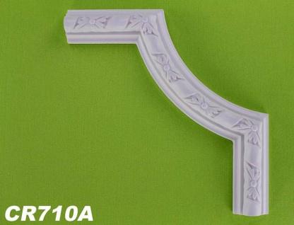 HX-CR710A Schmuck Eck Segmentbogen zur Flachleiste CR710 für Wand- und Deckenspiegel als Innenstuck Zierelement aus PU Hartschaum 230x230mm 1 Stück