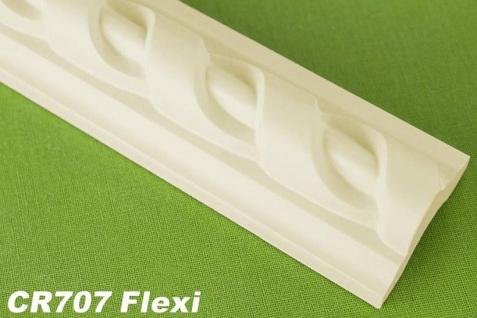 HX-CR707-FLEXI Flache flexible Dekorleiste für Wand- und Deckenspiegel als Innenstuck Profil aus PU Hartschaum 41x23mm 1Meter