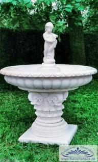 SP050 Gartenbrunnen mit großer Wasser Brunnenschale Sockel Kapitell und Brunnenfigur 138cm