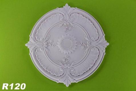 R120 Schmuckvolle Zierstuck Deckenrosette aus Polyurethan Hartschaum mit glatter weißer Oberfläche 77cm