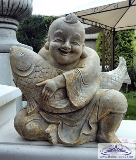 feng shui gartenfigur buddha der weisheit figur mit fisch 33cm 18kg kaufen bei. Black Bedroom Furniture Sets. Home Design Ideas