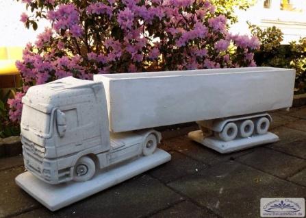 SRS110025 Truck LKW mit Auflieger als Gartendeko für den LKW Fahrer als Geschenk Idee für den Trucker 80cm 49kg