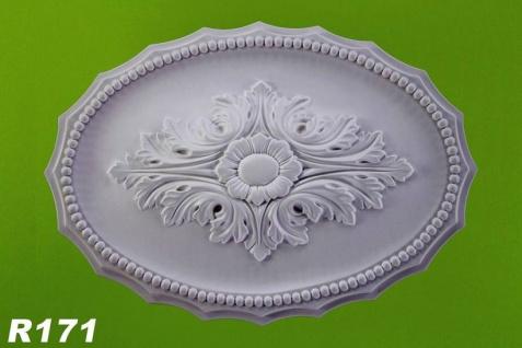 R171 Ovale Blattwerk Deckenrosette Zierstuck aus Polyurethan Hartschaum mit weißer Oberfläche 31x44cm